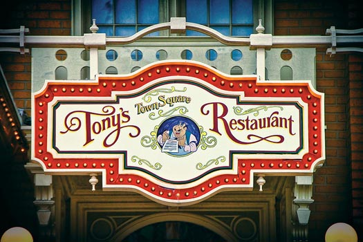 The Sign at Tony's Town Square Restaurant in the Magic Kingdom