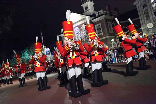 Toy Soldiers marching in the parade at Mickey's Very Merry Christmas Party