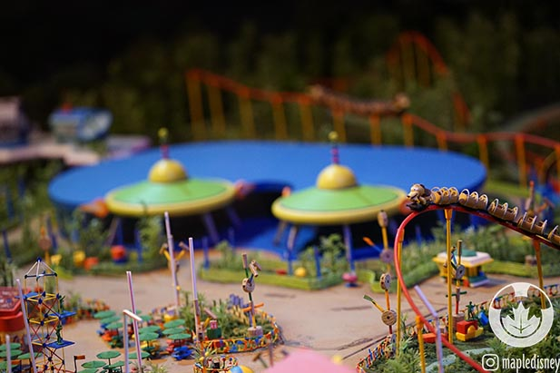 The model of Toy Story Land showing Alien Saucer Swirl