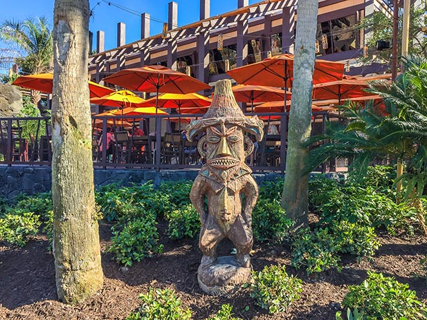 The statue outside Trader Sam's Grog Grotto