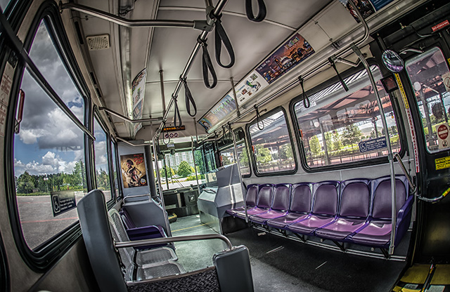 the inside of a Disney bus