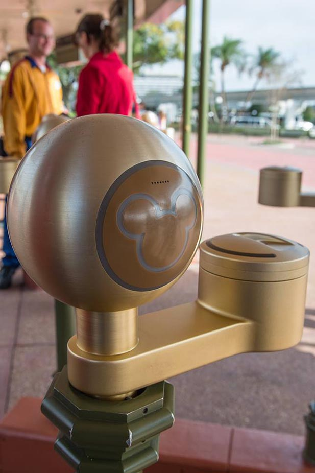 a Magic Band ticket reader at the Magic Kingdom