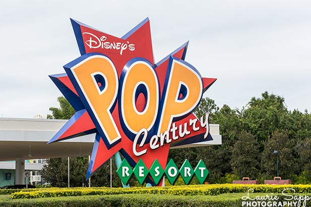 The big sign for the Pop Century Resort