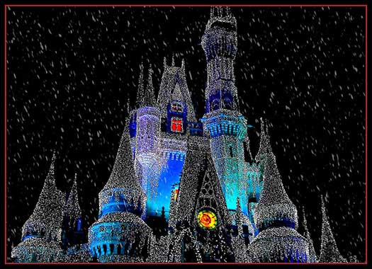Cinderella Castle with Christmas lights and snow