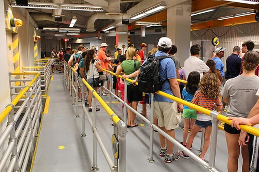 An empty FASTPASS line next to full lines at Test Track