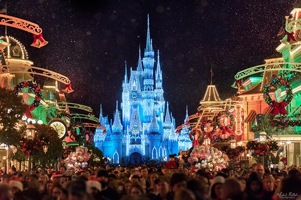 The Magic Kingdom Christmas decorations on Main Street USA.
