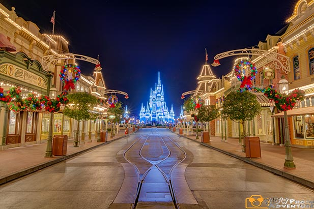 The Christmas decorations are cool on Main Street in the Magic Kingdom
