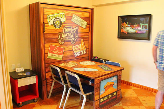 A table and chairs from a Cars Room at the Art of Animation Resort