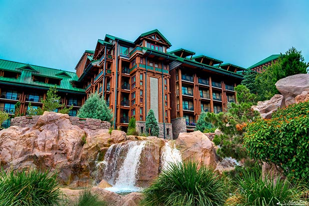 The waterfalls at the Wilderness Lodge Resort