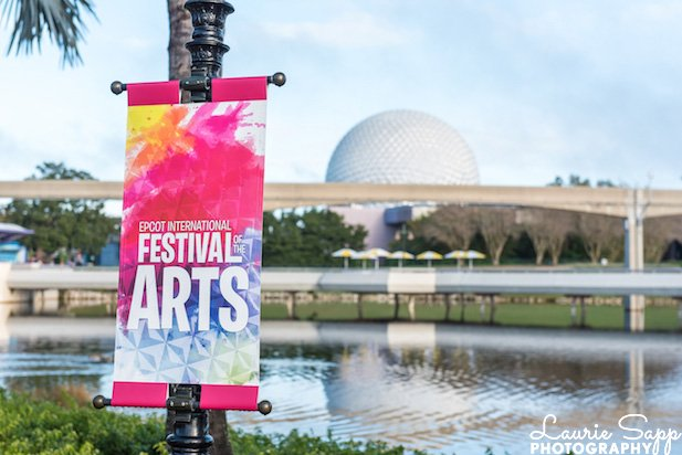 The Festival of the Arts is in full swing in February at EPCOT. Here's a sign.