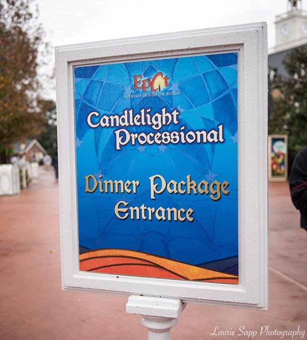 Candlelight Processional Dinner Package Entrance Sign