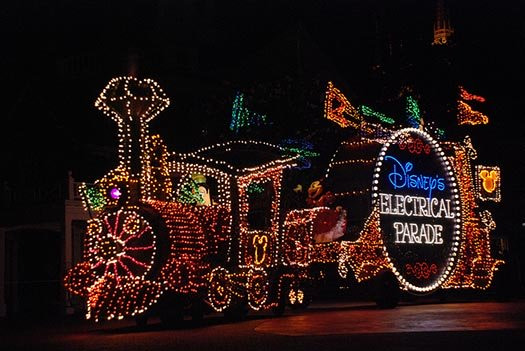 Casey Jr. in the Main Street Electrical Parade