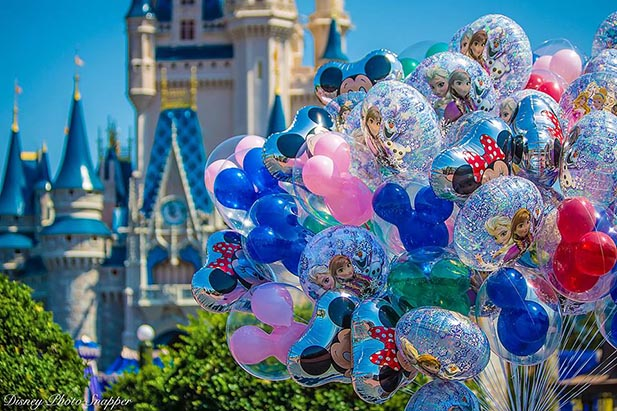 Balloons with Cinderella Castle in the background