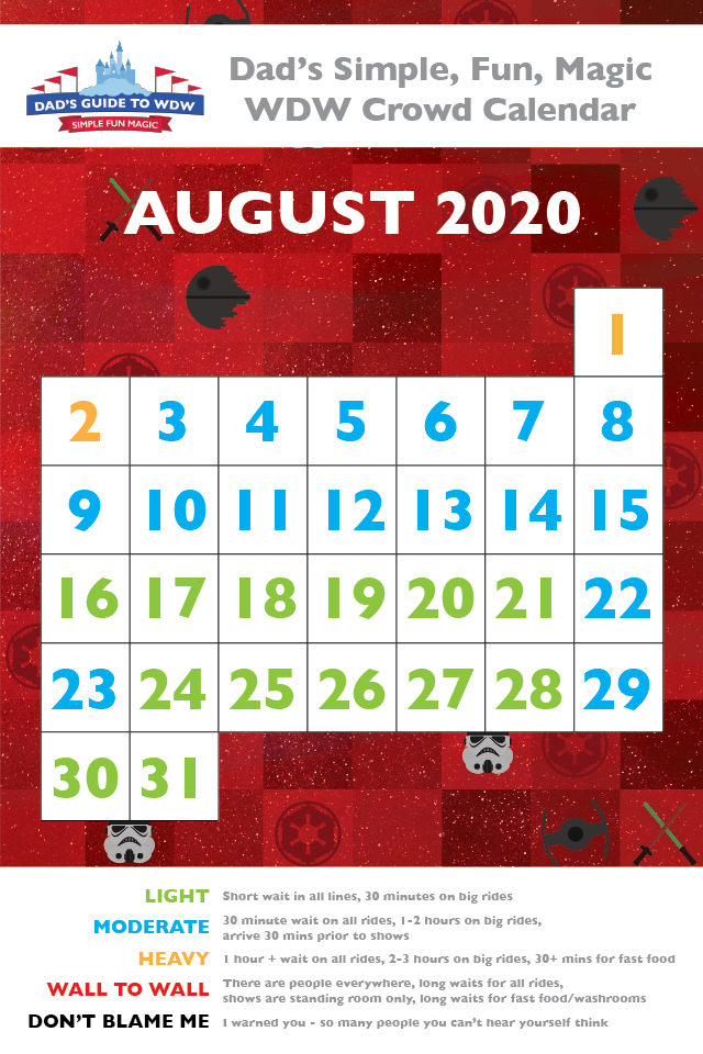 August Disney World Crowd Calendar