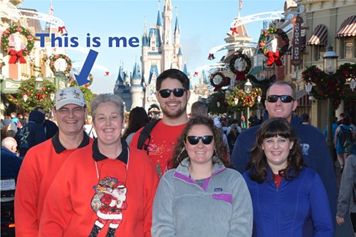 Dad and the family in front of Cinderella Castle at Walt Disney World