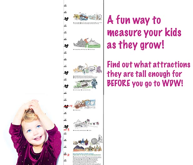 Dad's Are You Tall Enough chart with a little girl measures Disney World height requirements