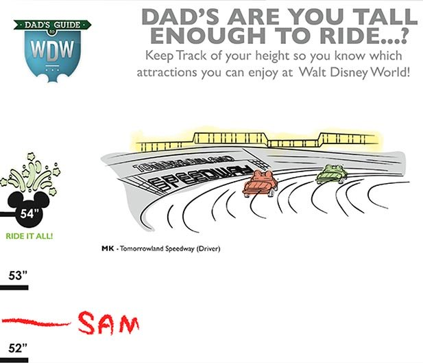 Measure Disney World height requirements with Dad's Are You Tall Enough...? Chart