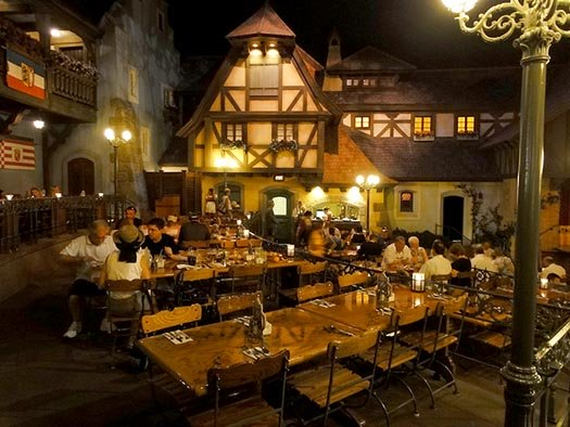 Diners seated inside the town square at the Biergarten