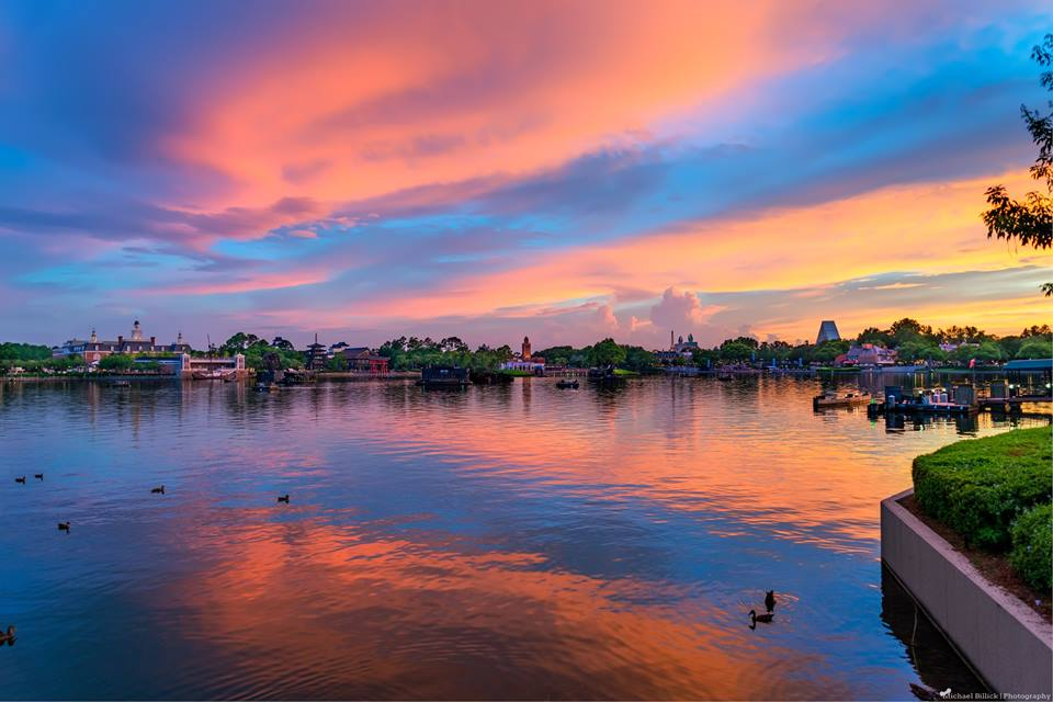 Sunset over the World Showcase in Epcot