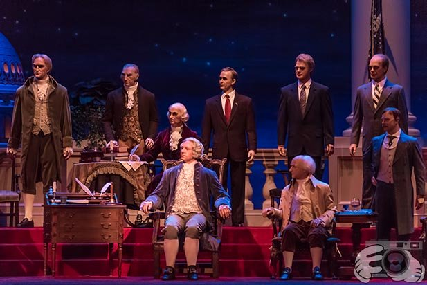 A picture of the Presidents in the Hall of Presidents to celebrate Presidents Day in February