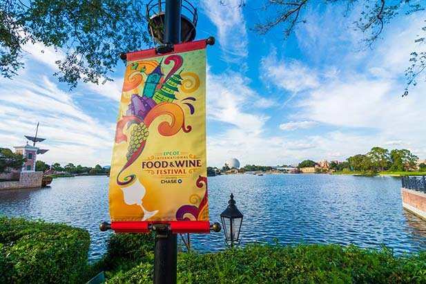 The sign for the Epcot International Food and Wine Festval
