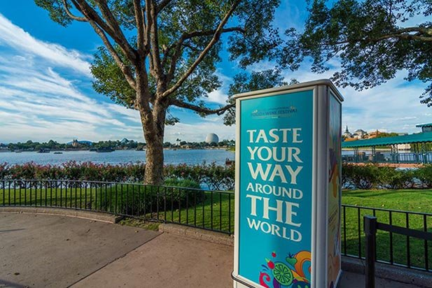 The Taste your way around the world sign at the Food and Wine Festival