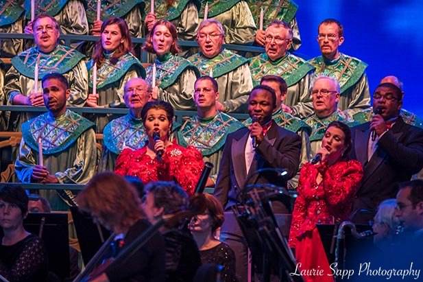The Voices of Liberty singing in the Candlelight Processional during Holidays Around the World in EPCOT
