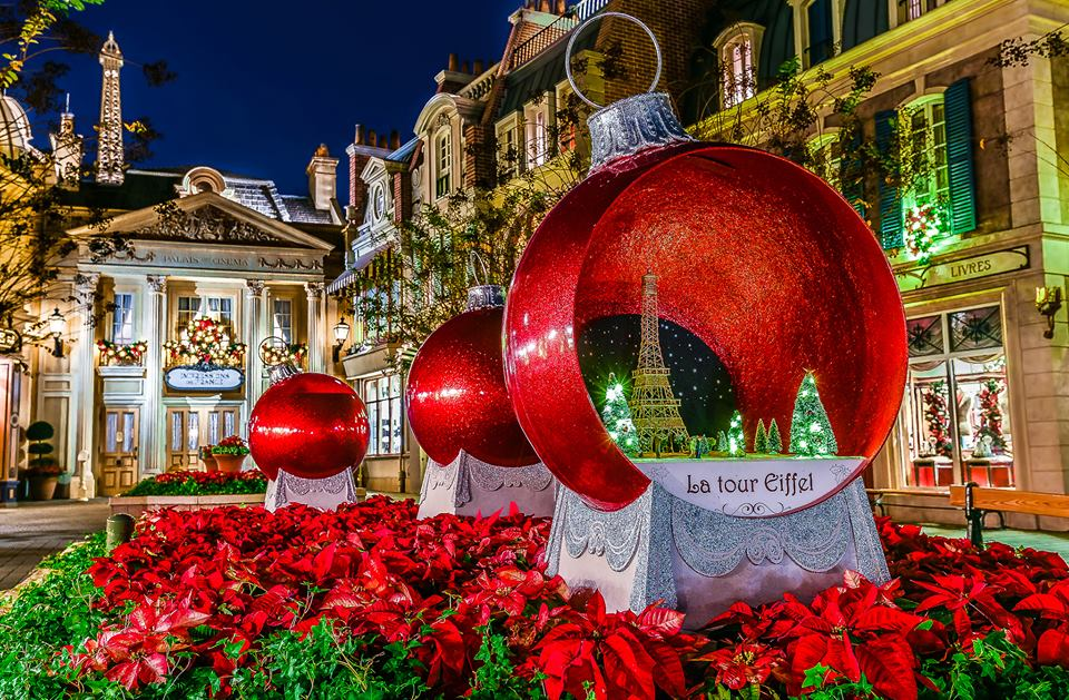 The holiday decorations in France at EPCOT