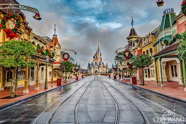 Looking down an empty Main Street at the Magic Kingdom