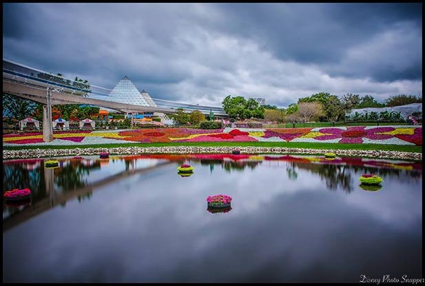 a cloudy day at the EPCOT International Flower and Garden Festival with no March Disney World Crowds in sight