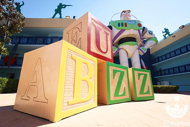 Buzz Lightyear patrols the All Star Movies Resort a great place to sleep when you're planning a Disney vacation