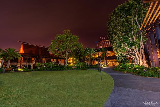 The longhouses at the Polynesian Village Resort