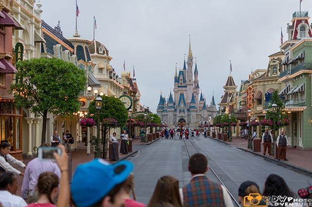People waiting at rope drop in the Magic Kingdom