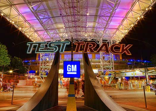 The outside of the Test Track Pavilion