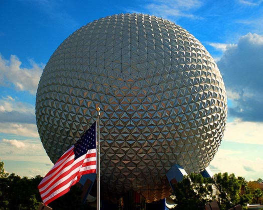The American Flag flies proudly at EPCOT during EPCOT hours