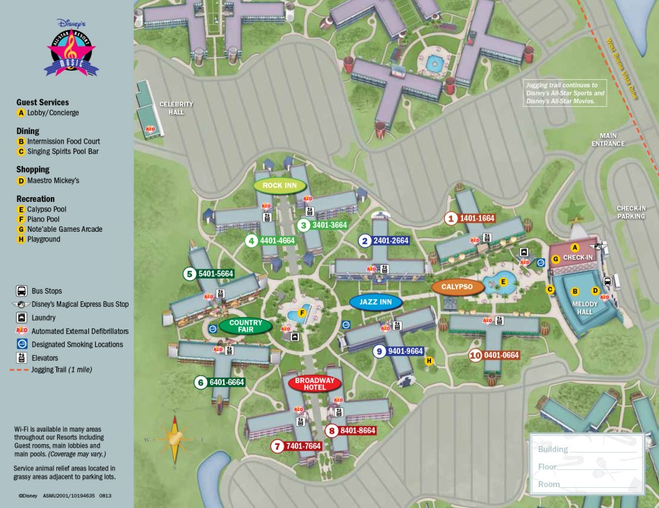 Disney All Star Movies Resort hotel map