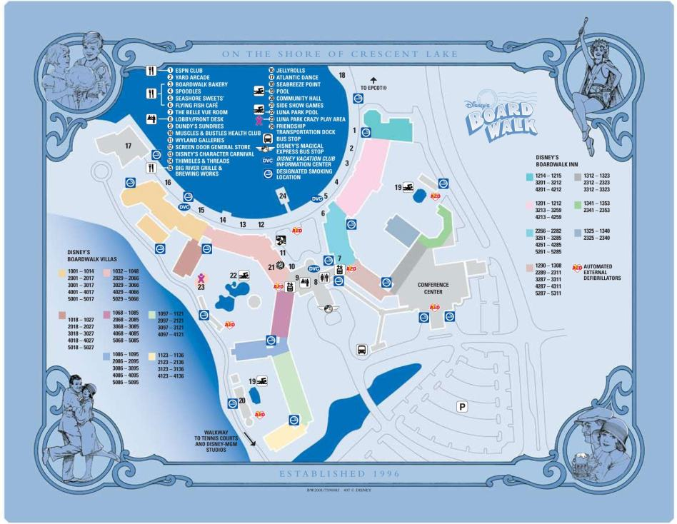 Map of the Disney Boardwalk hotel (Boardwalk Inn and Boardwalk Villas