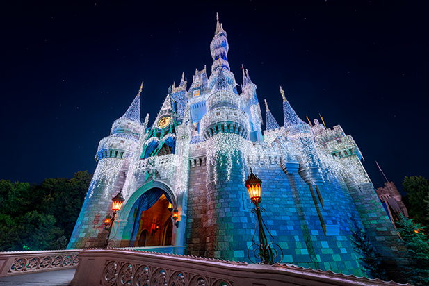 Cinderella Castle dressed up in Christmas lights.
