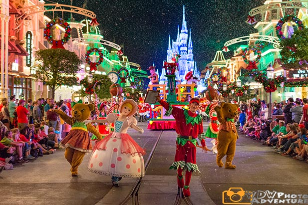 Little Bo Peep dances in the Once Upon a Christmas Time Parade during Mickey's Very Merry Christmas Party