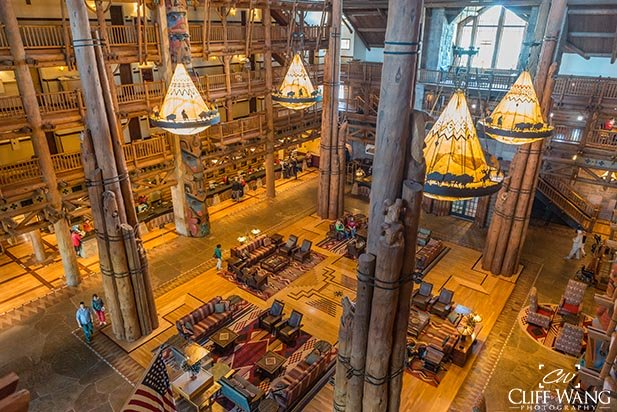The 8 story atrium in the Wilderness Lodge
