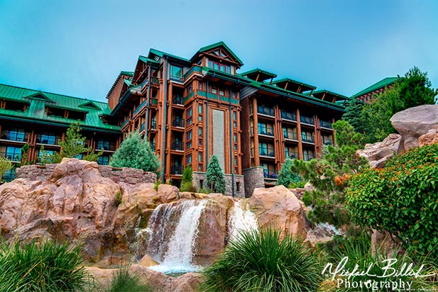 The waterfall behind the Wilderness Lodge