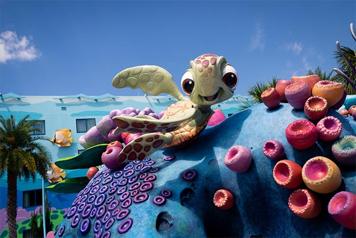 Squirt swimming around at the Art of Animation Resort