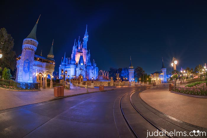 Looking at Cinderella Castle with no people like it might be during Disney After Hours at Magic Kingdom in August