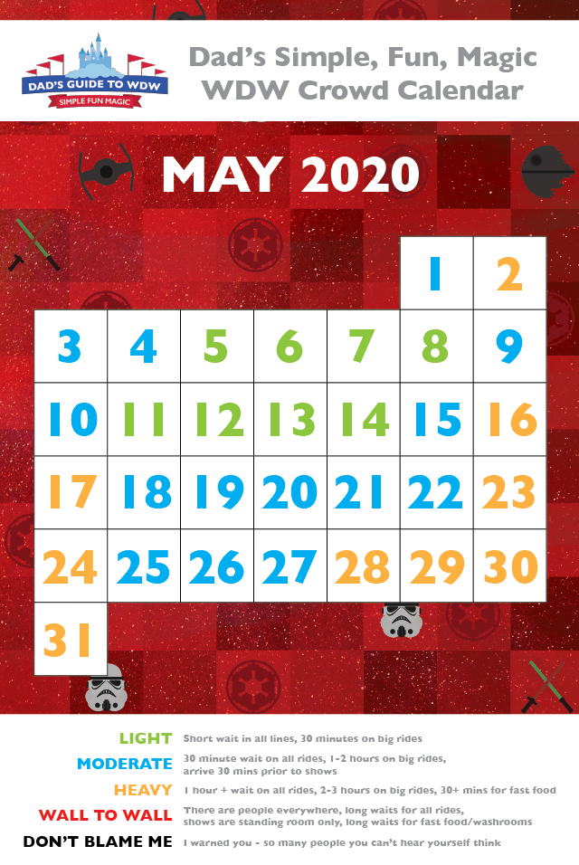 Dad's May Disney World Crowd Calendar for 2020