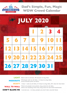 Dad's July 2020 Disney World Crowd Calendar