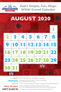 Dad's August Disney 2020 World Crowd Calendar