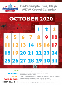 Dad's October 2020 Disney World Crowd Calendar