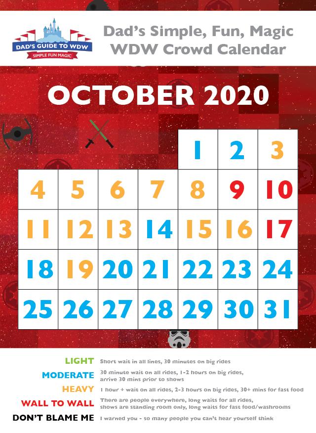 Dad's October 2020 Disney World Crowd Calendar