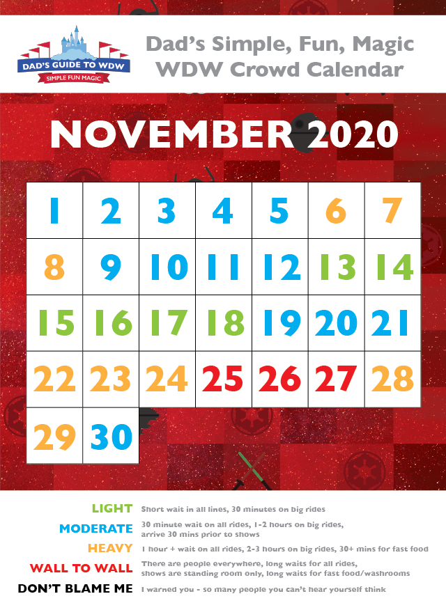 Dad's November 2020 Disney World Crowd Calendar
