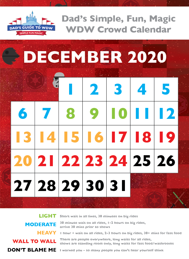 Dad's December 2020 Disney World Crowd Calendar